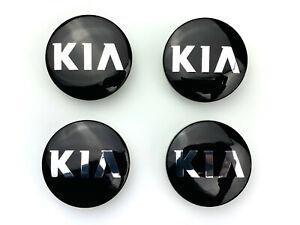 4x KIA BLACK Alloy Wheel Hub Centre Cap Set Centre Caps 59mm