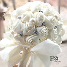 Handmade Rose Flower Wedding Bouquet Brooch Crystal Pearls Silk Bridal Flowers