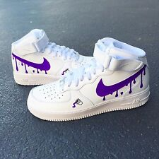 Custom Nike Air Force 1 White Mid Size 7 Purple Reign Tour DS2