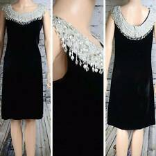 JACK BRYAN Dress VTG by Dupuis Velour heavily beaded formal evening approx 8-10