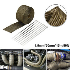 1pc 50ft 3K Titanium Car Automobile Exhaust Pipe Heat Warp Cover Glass Fiber Set
