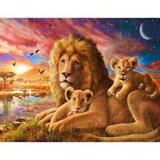 5D DIY Diamond Painting Lions Family Cross Stitch Embroidery Rhinestones C#P5