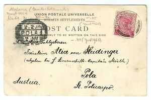 Straits Settlement 1900 postcard to Austria from Singapore, with POLA1 postmark,