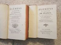 ELEMENS DE L' HISTOIRE DE FRANCE PAR L'ABBÉ  MILLOT 1779 TOMES 2 ET 3