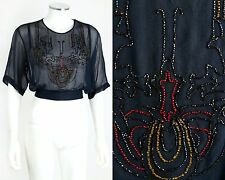 Vtg c.1920's Navy Blue Silk Chiffon Beaded Tie Waist Top Blouse Size S