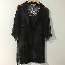 Monoreno Kimono Blazer Long Blouse Sheer Applique Black Elegant Dressy Sz Medium
