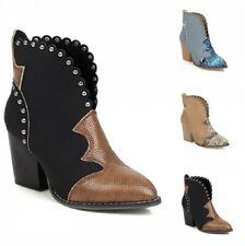 Snakeskin Print Women Western Pattern Pointy Heel Round Toe Ankle Boots Winter B