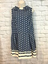 Karen Walker Runway Women's Blue Polka Dot Chambray Drop Waist Dress Size 6