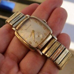 RARE Vintage Antique Men's Bulova Gold Filled Watch Wristwatch Wind Up Antique