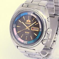 70s ORIENT 3 CRYSTAL DIVER automatic day date Jumbo inner bezel