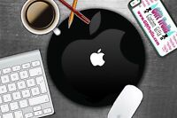 New Apple Neoprene Mousepad Mat Pad Black Color With White Logo Round Mac