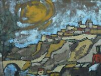 Beau Tableau ancien école Française expressionniste Daniel David paysage Agen N2