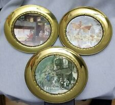 """Set Of 3 Vintage Foil Art 7.5"""" Solid Brass Wall Hanging Plates - Colonial Scenes"""