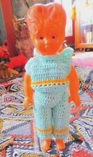 Vintage 1960's Pliable Plastic Doll W Fancy And Hair Knit Outfit 10.25 Inches