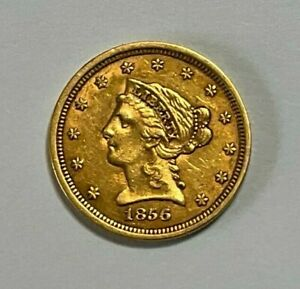 1856 $2.5 Gold Liberty Head Quarter Eagle Coin, 7 Days Auction