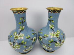 """Asian Cloisonné 8"""" Enamel Vases Pair 2 Cherry Blossom Vintage"""