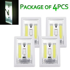 4Pcs Cordless COB LED Night Light Switch Battery Powered Closet Wall Emergency