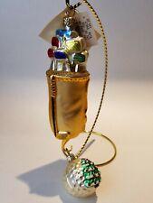 Patricia Breen Golf Bag & Ball Ornament Set Golfers Glass Ornaments