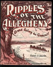 Ripples of the Allegheny 1912 Harry J Lincoln Large Format Sheet Music