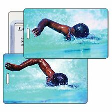Swimmer Luggage Tag Bag Travel  Lenticular Animated Olympic #LT01-219#