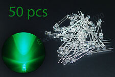 50pcs LED 3mm Green Water Clear Ultra Bright-USA Fast Shipping
