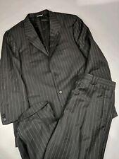 Everett Hall Designer 1k Plus Black Pinstriped Suit Sz 46 R 42x29   14001