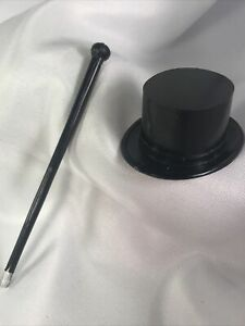 Vintage Cake Topper Mini Plastic Black Top Hat & Cane 1 Set