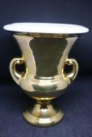 Vintage Haeger Pottery Urn Vase 22 Carat Gold Glaze White Award Trophy USA EUC