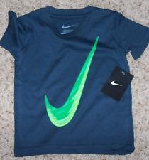 Nike Boy 2T Obsidian Navy SHIRT Green Logo NWT Short Sleeve