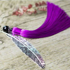 Purple Vintage Tassel Feather Bookmark Chinese Folk National Collectibles LD