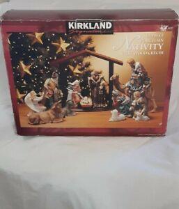Nativity Set x 12 with Wood Creche in Box Kirkland Signature Porcelain