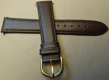 Timex Brown Padded Genuine Calfskin Leather 18mm Watch Band Gold Tone Buckle