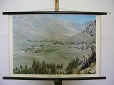 Beautiful Old Wall Picture typical Andean valley mountains south America 75x51 Vintage ~ 1960