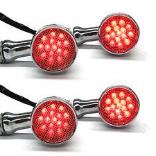 Chrome Motorcycle LED Turn Signals RED Light Brake Running Tail Light Bullet US