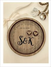 Wedding Ring Bearer Tray, Dish, Plate: Personalised Monogram Leaves Wreath.