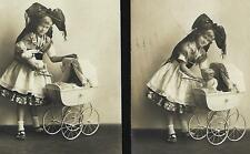 Edwardian ALSATIAN GIRL w/antique DOLL + TOY Landau. Real Photo postcard 1905s