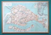 "ITALY Venice City Plan - 1931 BAEDEKER MAP 10 x 14 ""  24.5 x 35 cm"