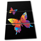 Butterfly Illustration TREBLE CANVAS WALL ART Picture Print VA