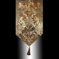 NEW LUXURY SHINY BRONZE VELVET DAMASK DECO TASSEL WEDDING BED TABLE RUNNER CLOTH