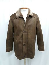 Johnston & Murphy Faux Shearling Coat SZ LARGE Full Zip Button Brown Polyester