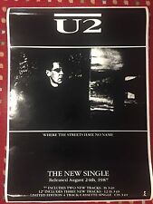 U2 WHERE THE STREETS HAVE NO NAME PROMO POSTER RARE NEAR MINT CONDITION