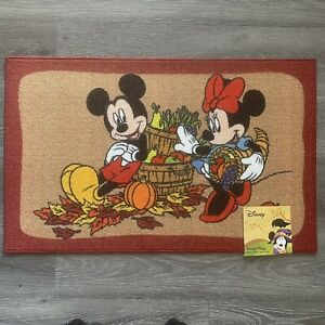 """Disney Mickey Minnie Mouse Thanksgiving Harvest Accent Rug Out Indoor  20""""x 32"""""""