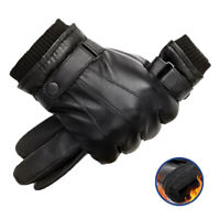 Men's Leather Gloves Motorcycle Men Full Finger Touch Screen Driving Winter Warm
