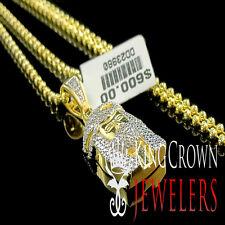 Real Genuine Diamond Jesus Charm Necklace Yellow Gold Finish Moon Cut Bead Chain