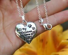 Pet Mom NECKLACE All My Children Have Paws Dog Cat Lover .925 Sterling Silver Ch