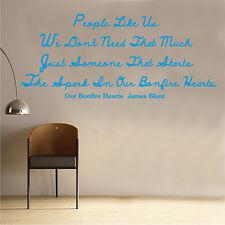 James Blunt Bonfire Heart Song Music Lyrics Decal Vinyl Wall Sticker (ML20)