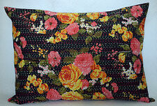 """Ethnic Black Floral Kantha Quilted Pillow Case Handmade Cushion Cover Throw 28"""""""