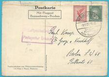 Deutsches Reich Luftpost: Postkarte als Ganzsache von Braunschweig 9.10.1927!