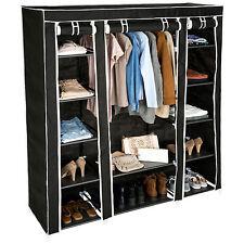 triple armario de lona tela ropa organizador guardarropa con barras de colgar n