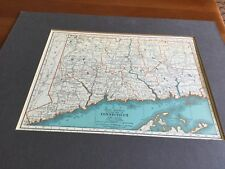 "1935 FLORIDA CONNECTICUT 2 side MAP Rand McNally PREMIUM Edition 11"" x 14"""